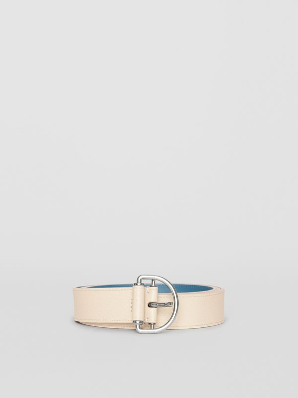 Grainy Leather D-ring Belt in Stone/pewter Blue - Women | Burberry Australia - cell image 3