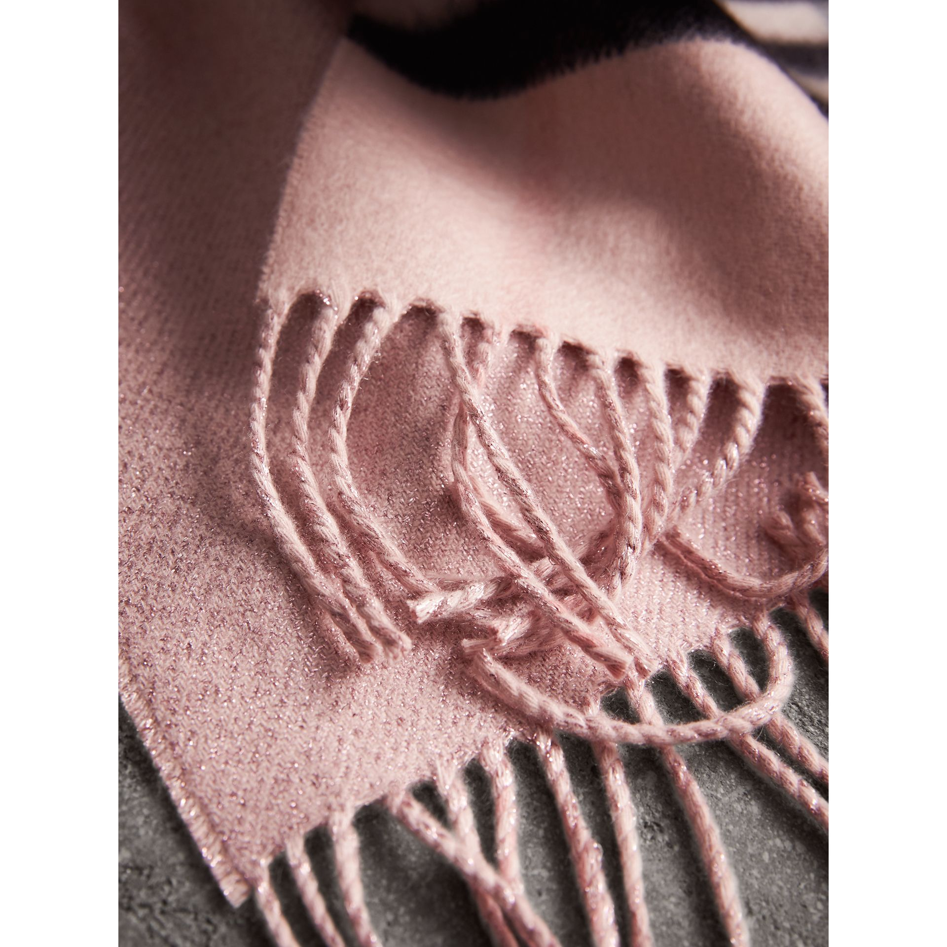 Reversible Metallic Check Cashmere Scarf in Ash Rose - Women | Burberry - gallery image 4