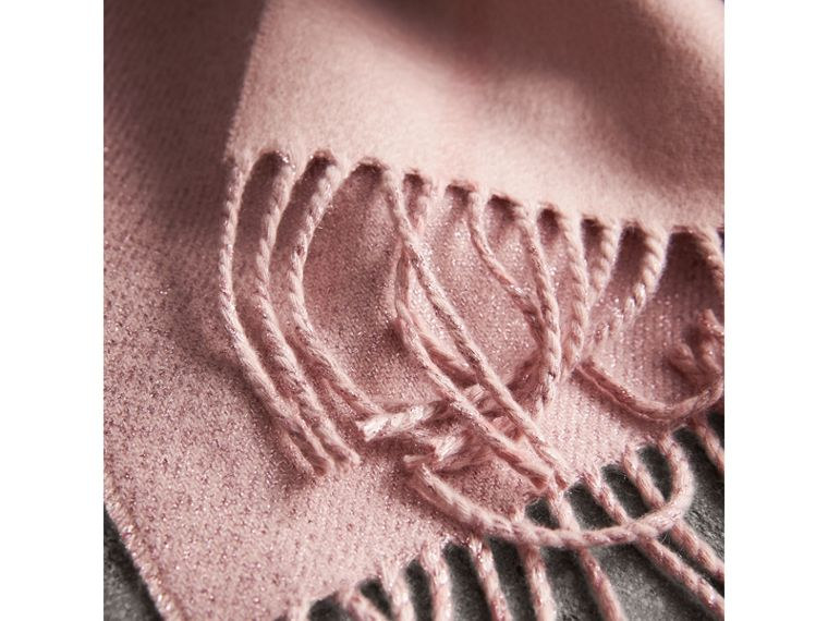 Reversible Metallic Check Cashmere Scarf in Ash Rose | Burberry United States - cell image 4
