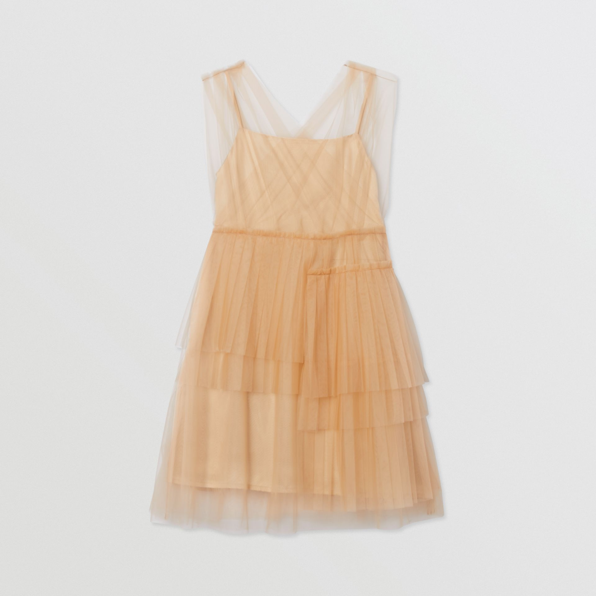 Tulle Tiered Dress in Oyster Beige | Burberry - gallery image 0