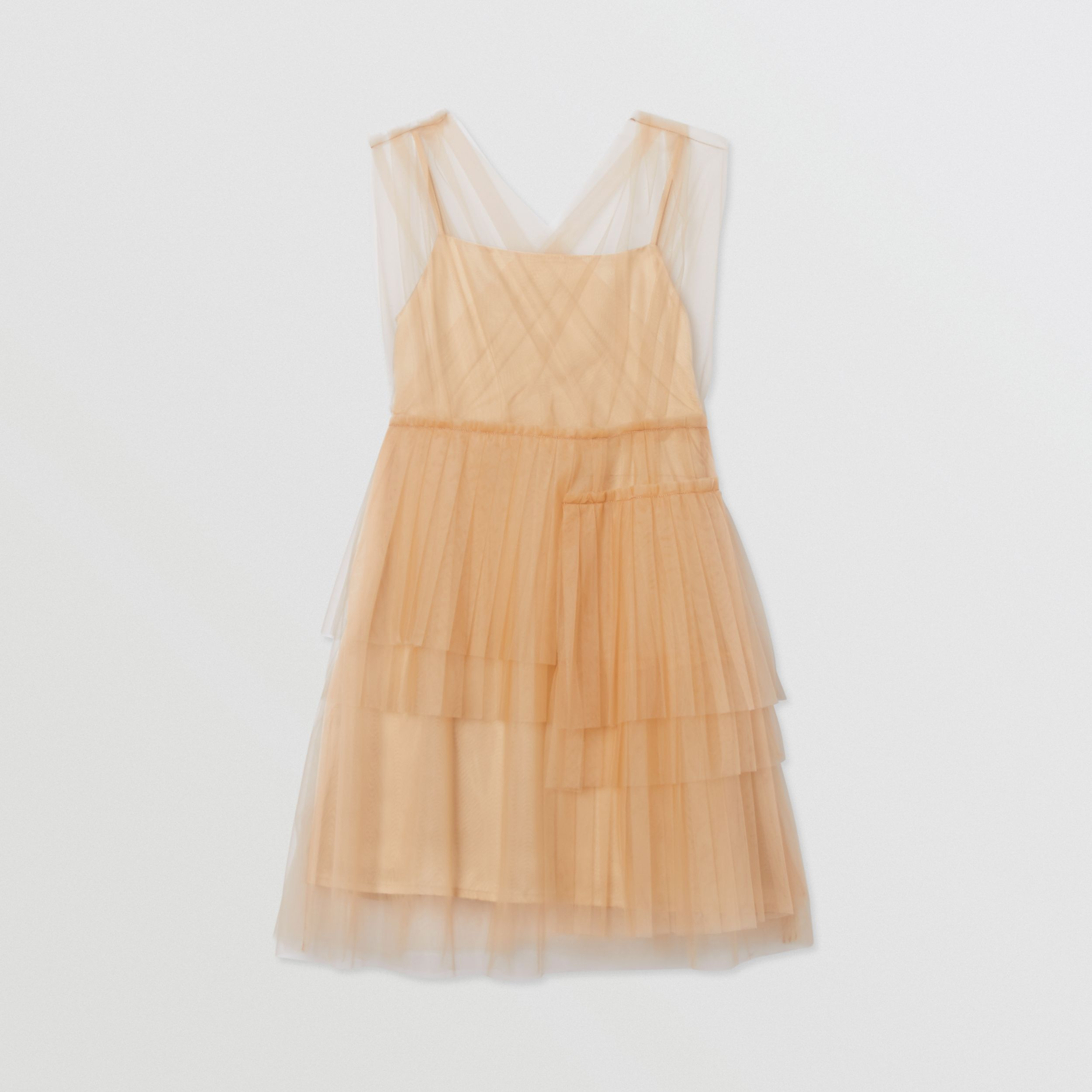 Tulle Tiered Dress in Oyster Beige | Burberry - 1