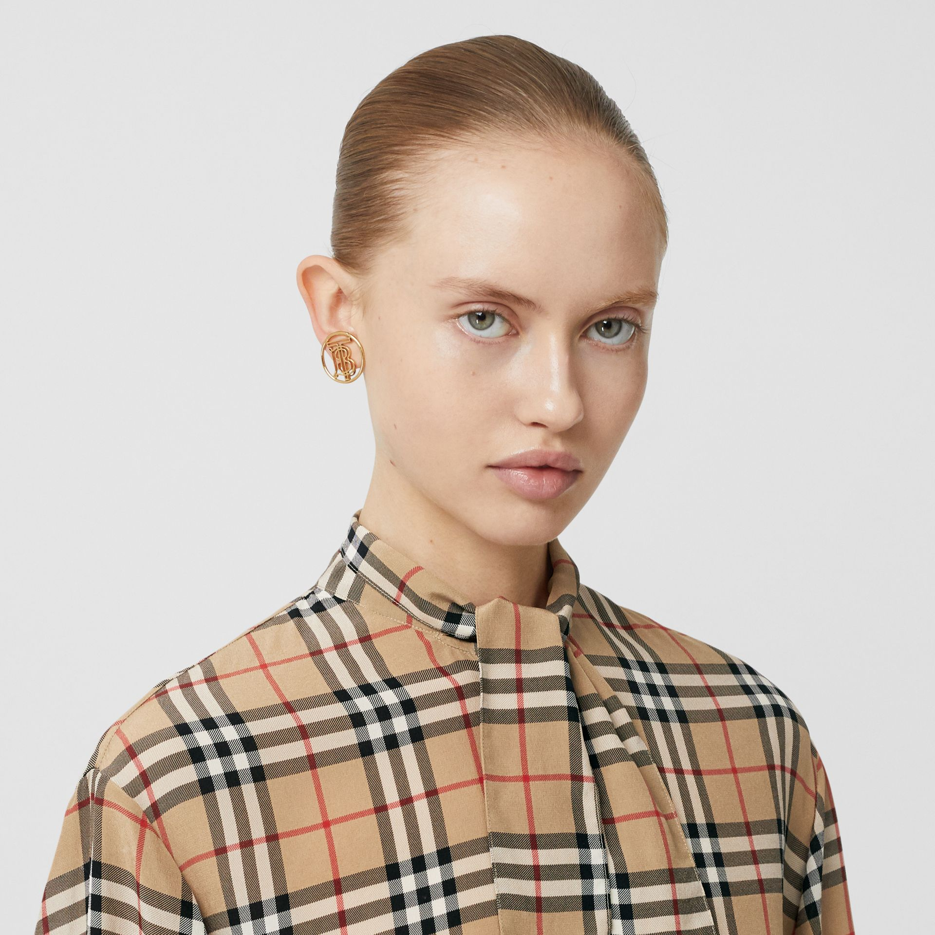 Vintage Check Silk Tie-neck Shirt in Archive Beige - Women | Burberry Singapore - gallery image 1