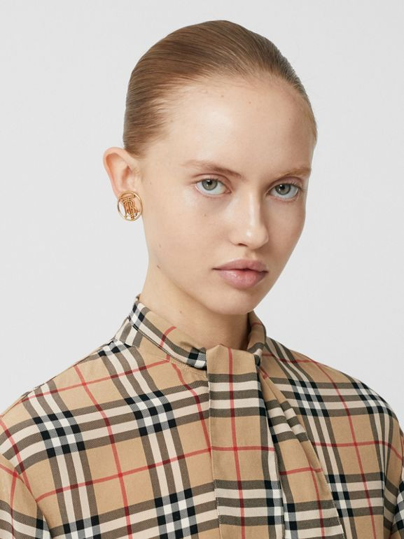 Vintage Check Silk Tie-neck Shirt in Archive Beige - Women | Burberry - cell image 1