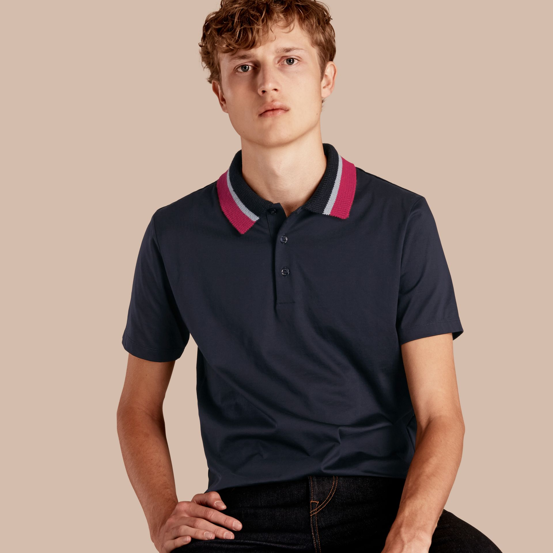 Cotton Polo Shirt with Knitted Collar Navy - gallery image 1