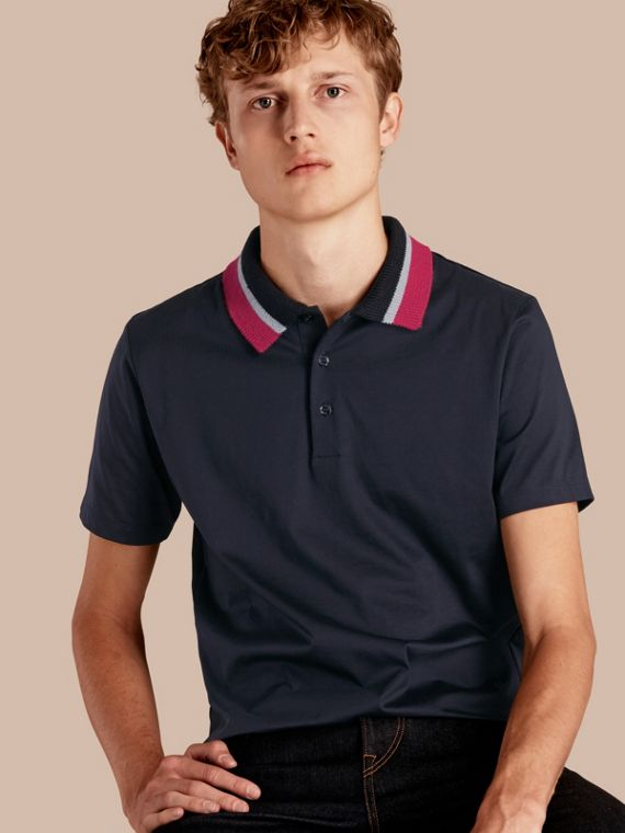 Cotton Polo Shirt with Knitted Collar Navy