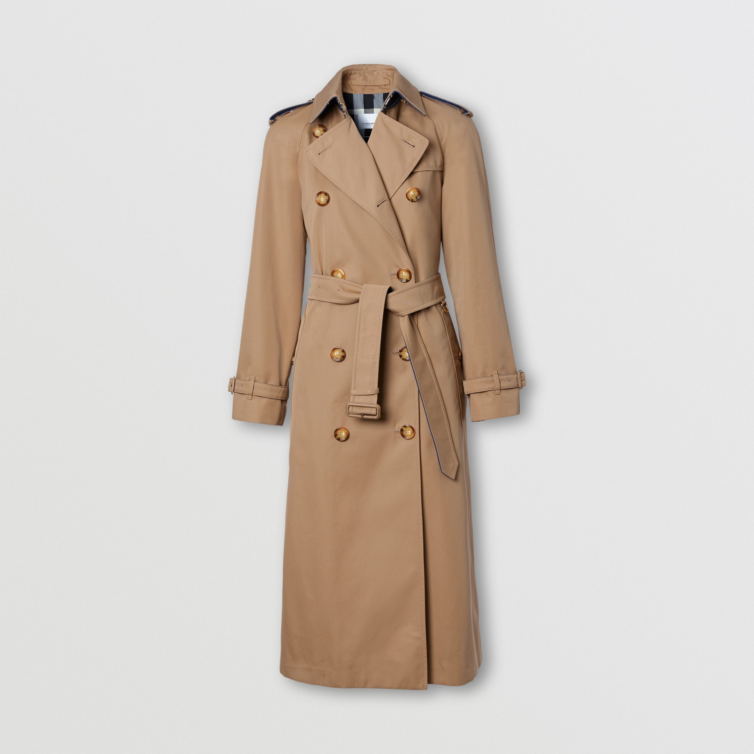 Denim Detail Cotton Gabardine Trench Coat in Camel - Women | Burberry - 4