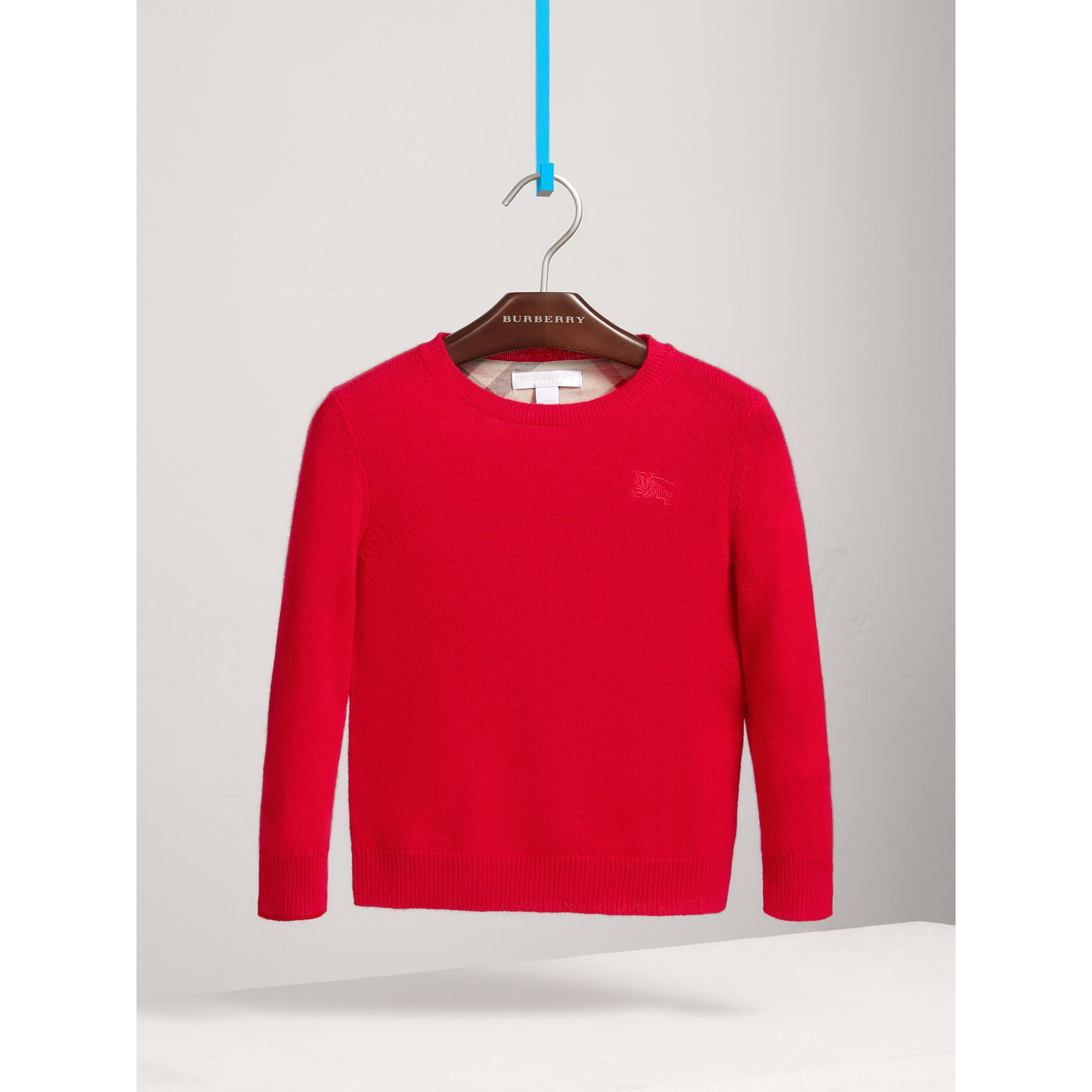 Check Elbow Patch Cashmere Sweater in Parade Red | Burberry - gallery image 0