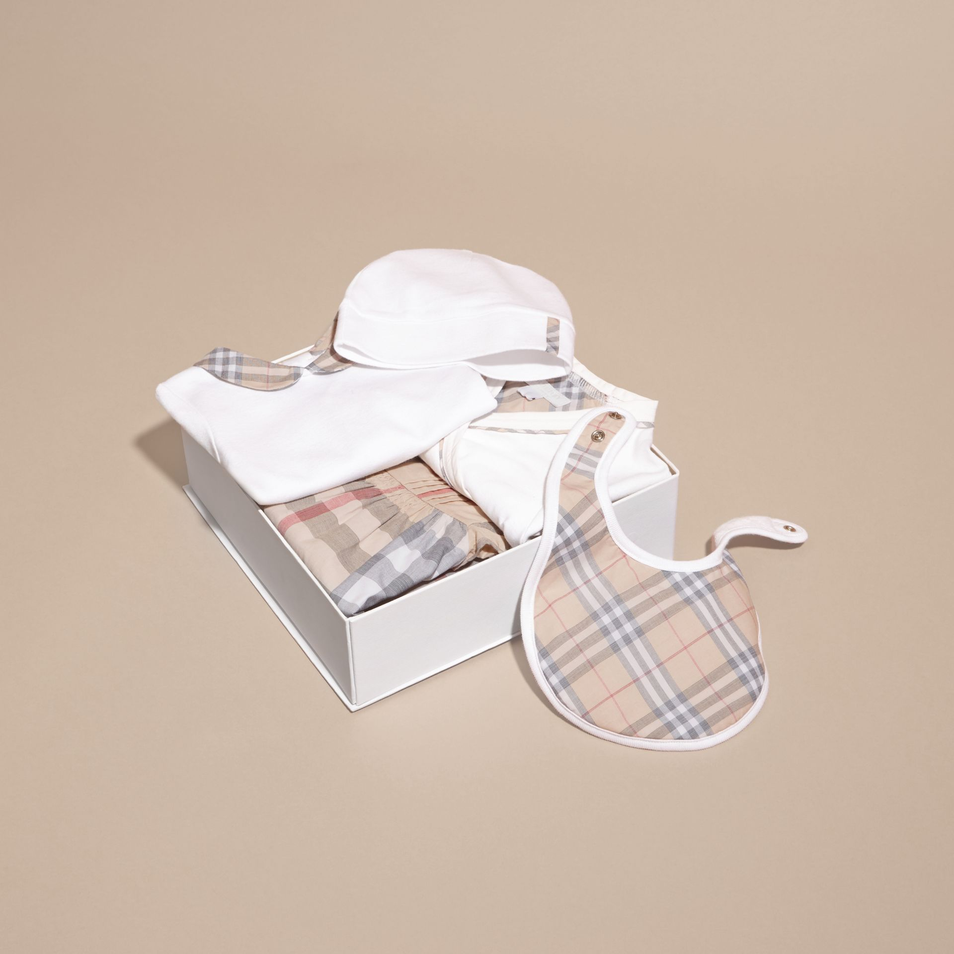 Cotton Six-piece Baby Gift Set in White | Burberry - gallery image 6