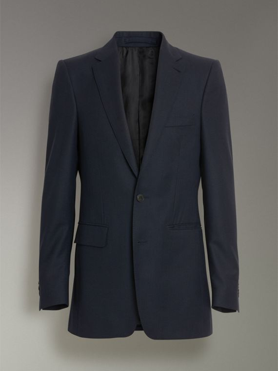 Slim Fit Birdseye Wool Suit in Navy - Men | Burberry - cell image 3