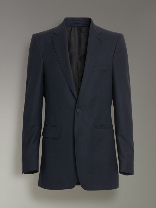 Slim Fit Birdseye Wool Suit in Navy - Men | Burberry United Kingdom - cell image 3