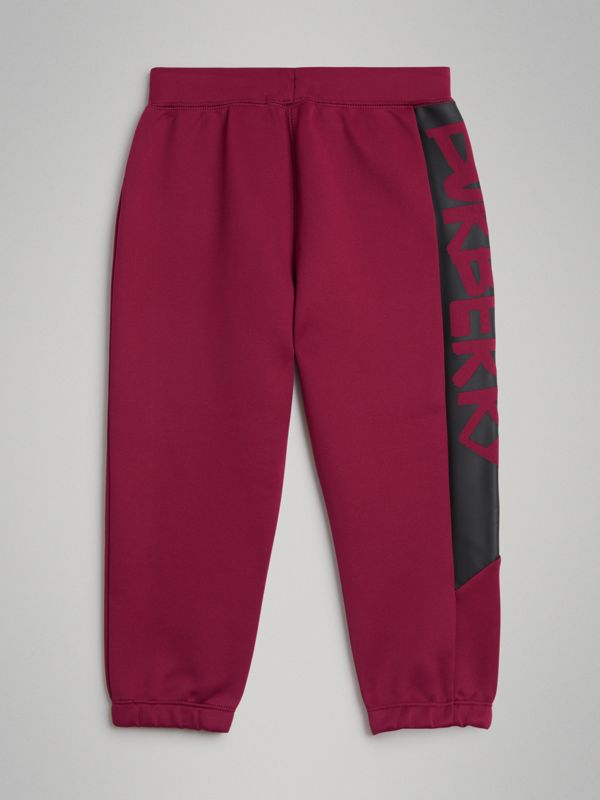 Graffiti Print Jersey Sweatpants in Burgundy | Burberry - cell image 3