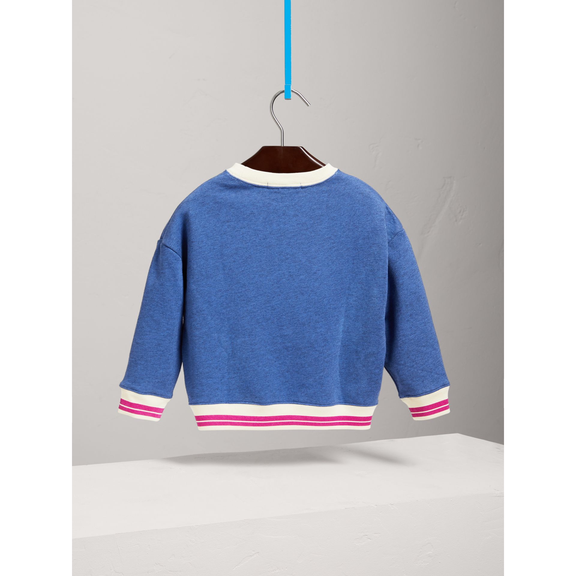 Striped Hem Embroidered Cotton Jersey Sweatshirt in Hydrangea Blue - Girl | Burberry United States - gallery image 3