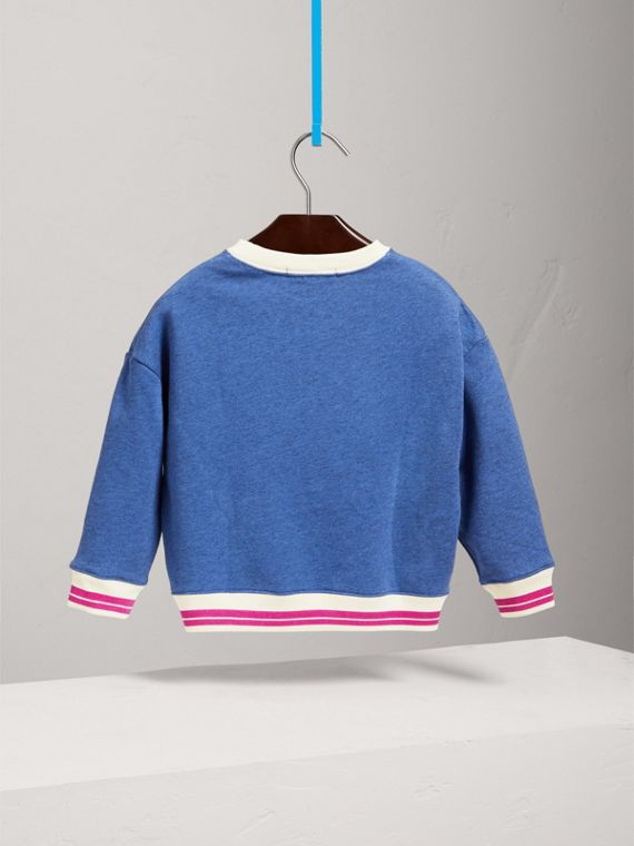 Striped Hem Embroidered Cotton Jersey Sweatshirt in Hydrangea Blue - Girl | Burberry - cell image 3