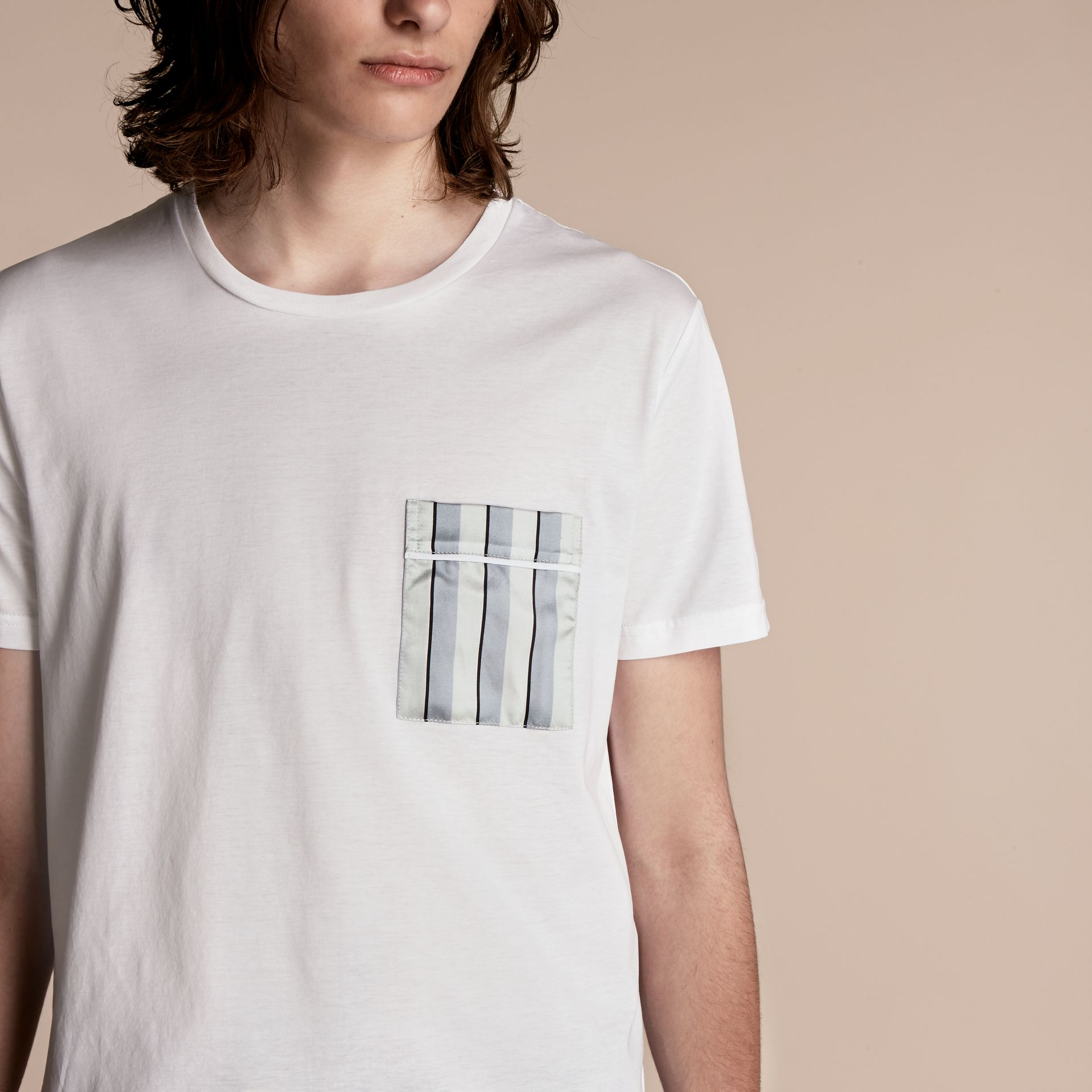 White Cotton T-shirt with Pyjama Stripe Pocket - gallery image 5