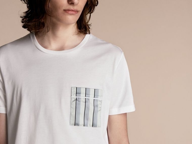 White Cotton T-shirt with Pyjama Stripe Pocket - cell image 4