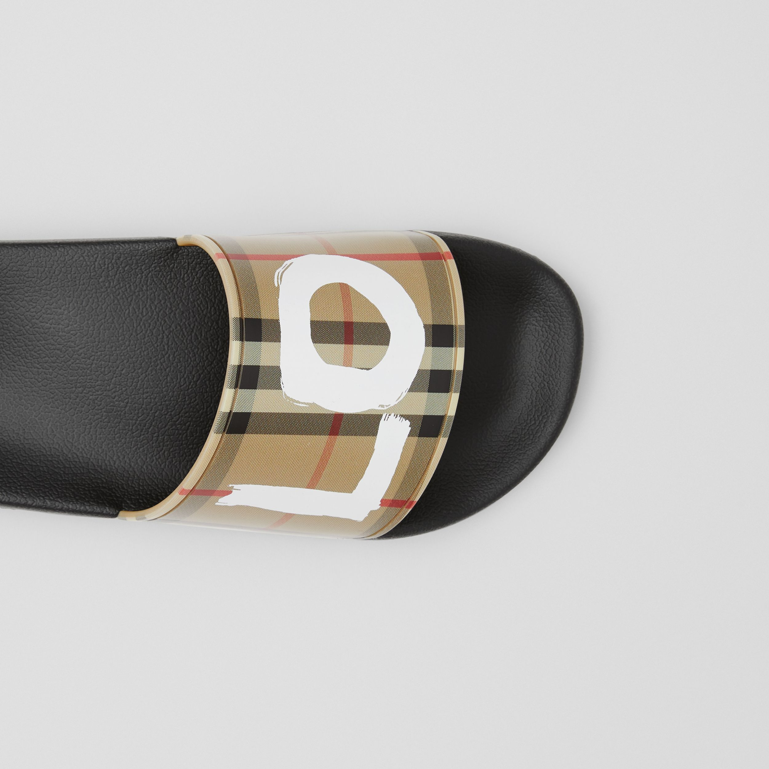 Love Print Vintage Check Slides in Archive Beige - Women | Burberry - 2