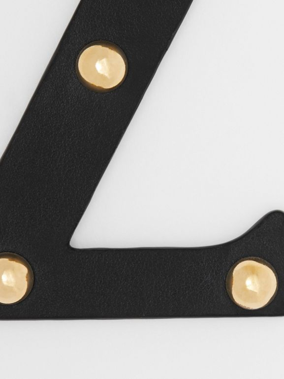 'Z' Studded Leather Alphabet Charm in Black/light Gold - Women | Burberry United Kingdom - cell image 1
