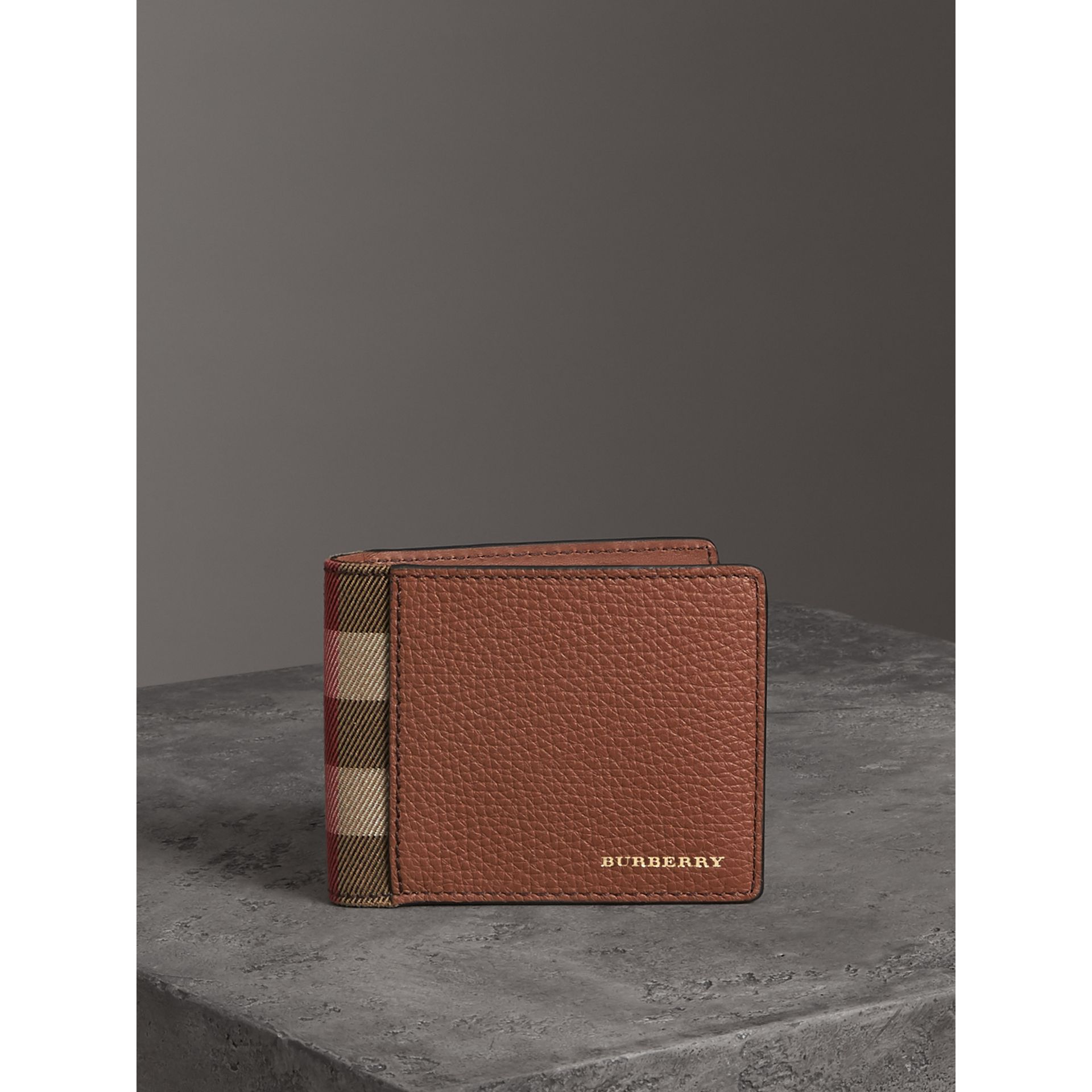 Grainy Leather and House Check Bifold Wallet in Chestnut Brown - Men | Burberry United States - gallery image 4
