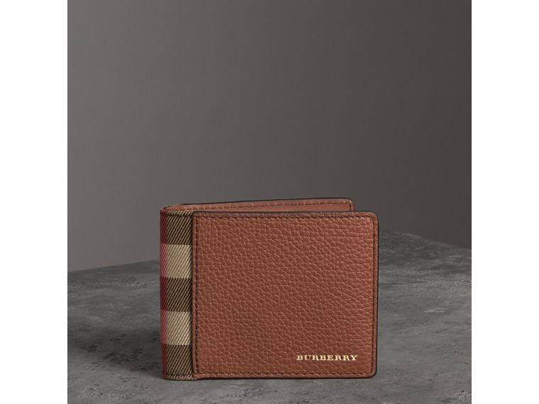 Grainy Leather and House Check Bifold Wallet in Chestnut Brown - Men | Burberry United States - cell image 4