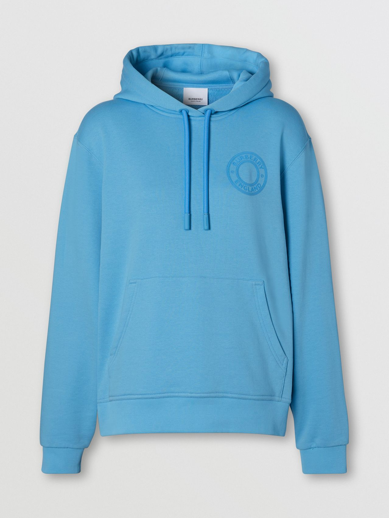 Logo Graphic Cotton Oversized Hoodie in Blue Topaz
