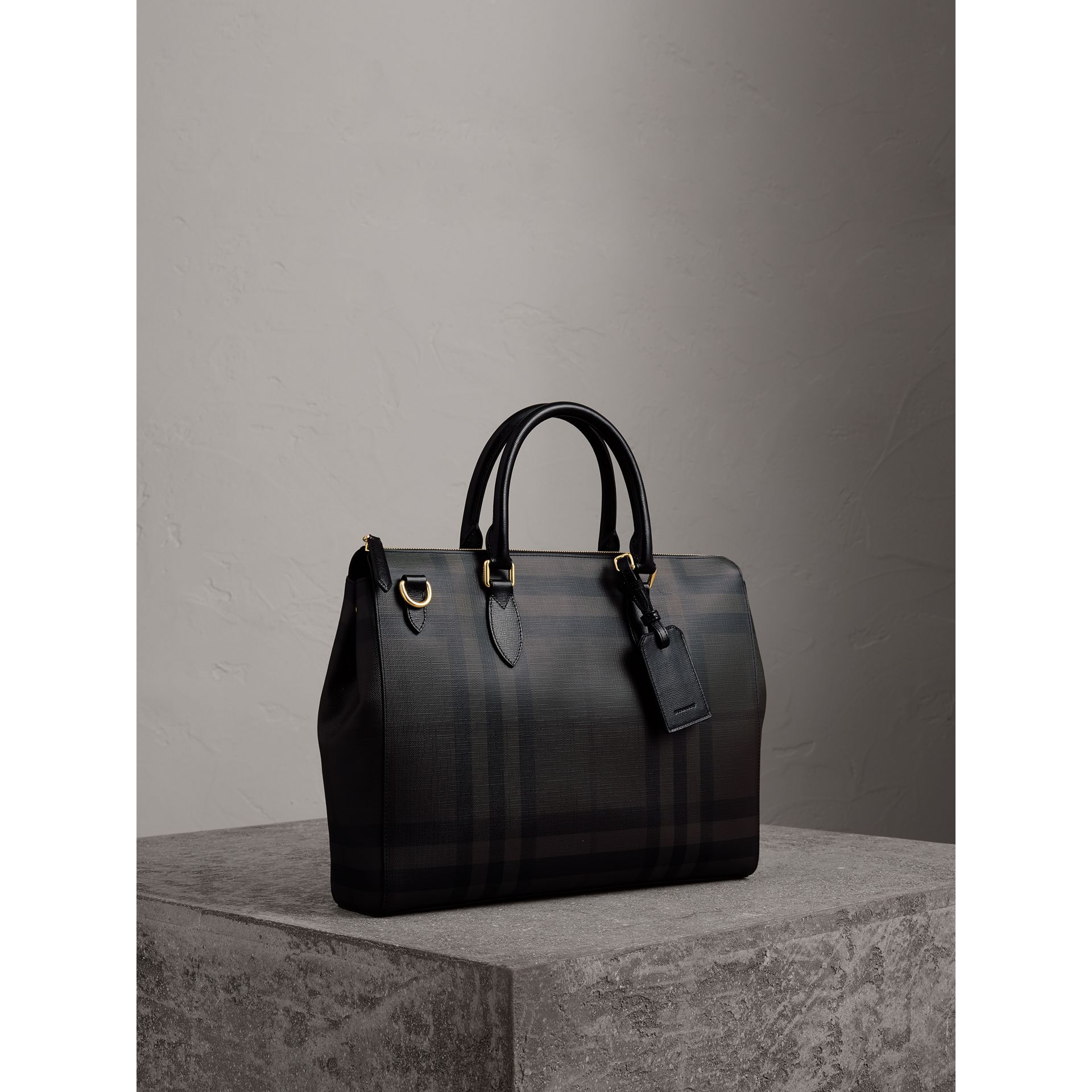 Large London Check Briefcase in Chocolate/black - Men | Burberry - gallery image 6