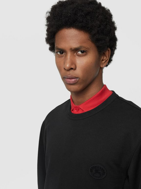 Embroidered Crest Cotton Sweatshirt in Black - Men | Burberry Canada - cell image 1