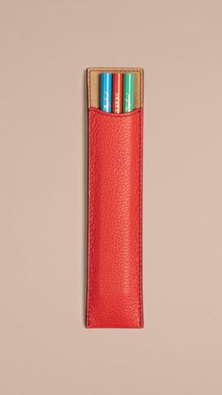 Étui à crayons en cuir grené