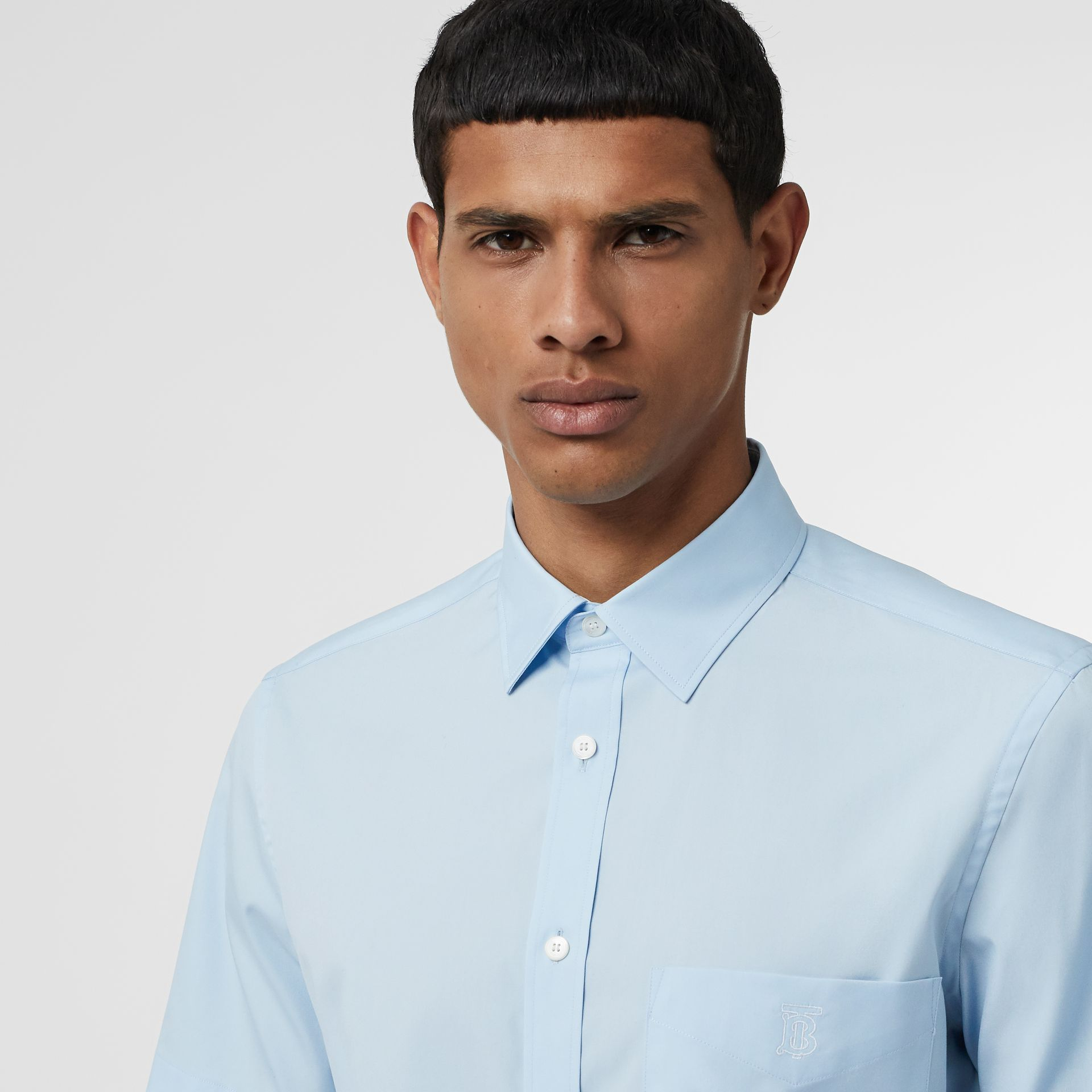 Short-sleeve Monogram Motif Stretch Cotton Shirt in Pale Blue - Men | Burberry United Kingdom - gallery image 1