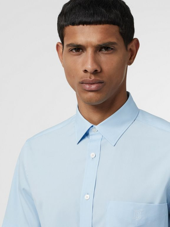 Short-sleeve Monogram Motif Stretch Cotton Shirt in Pale Blue - Men | Burberry - cell image 1
