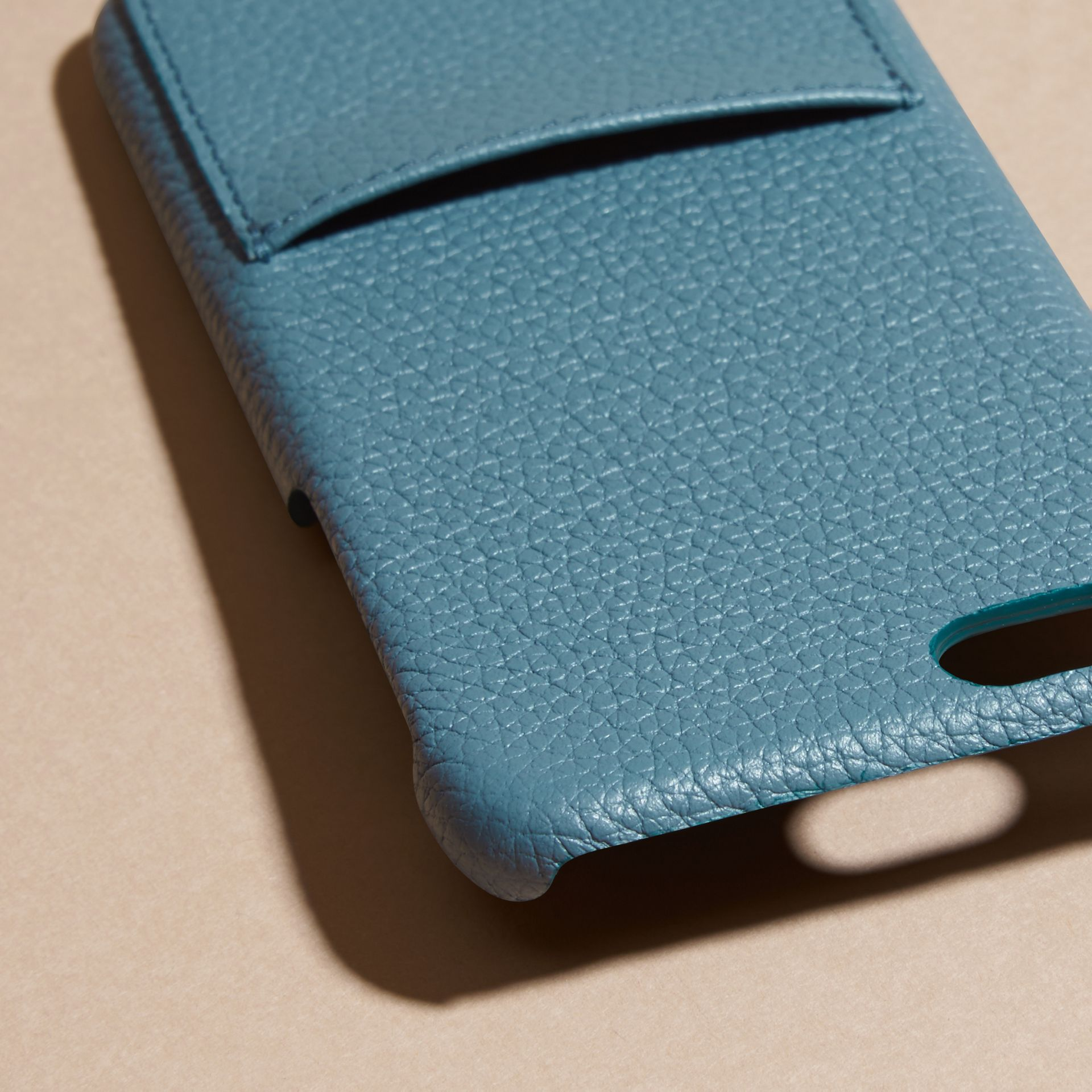 Grainy Leather iPhone 6 Case in Dusty Teal | Burberry Australia - gallery image 2