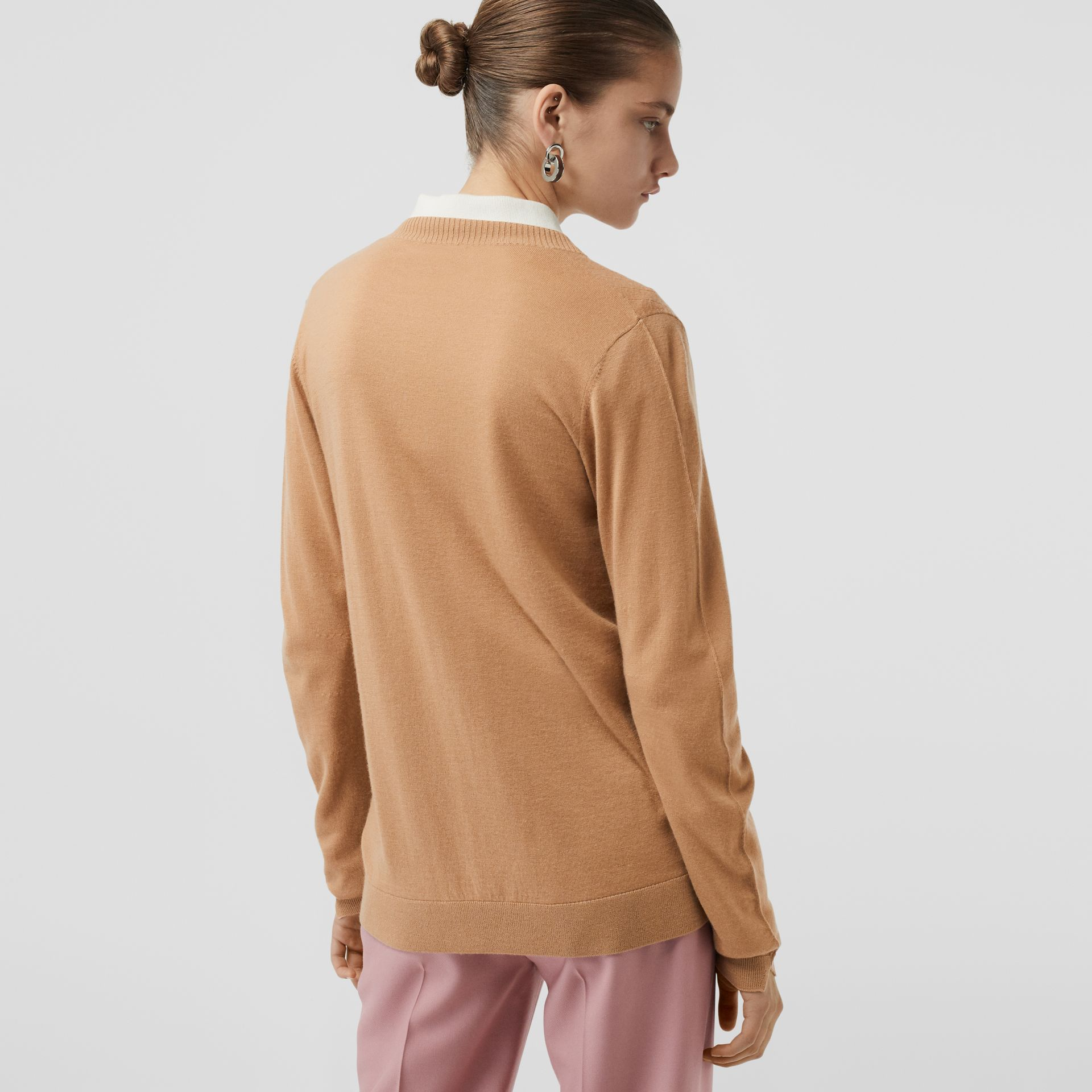 Rib Knit Cashmere Cardigan in Camel - Women | Burberry - gallery image 2