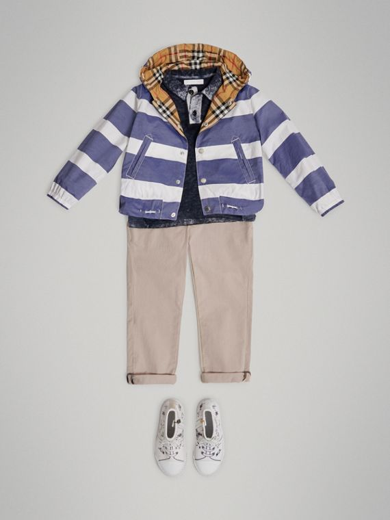 Reversible Stripe and Vintage Check Cotton Jacket in Navy/white