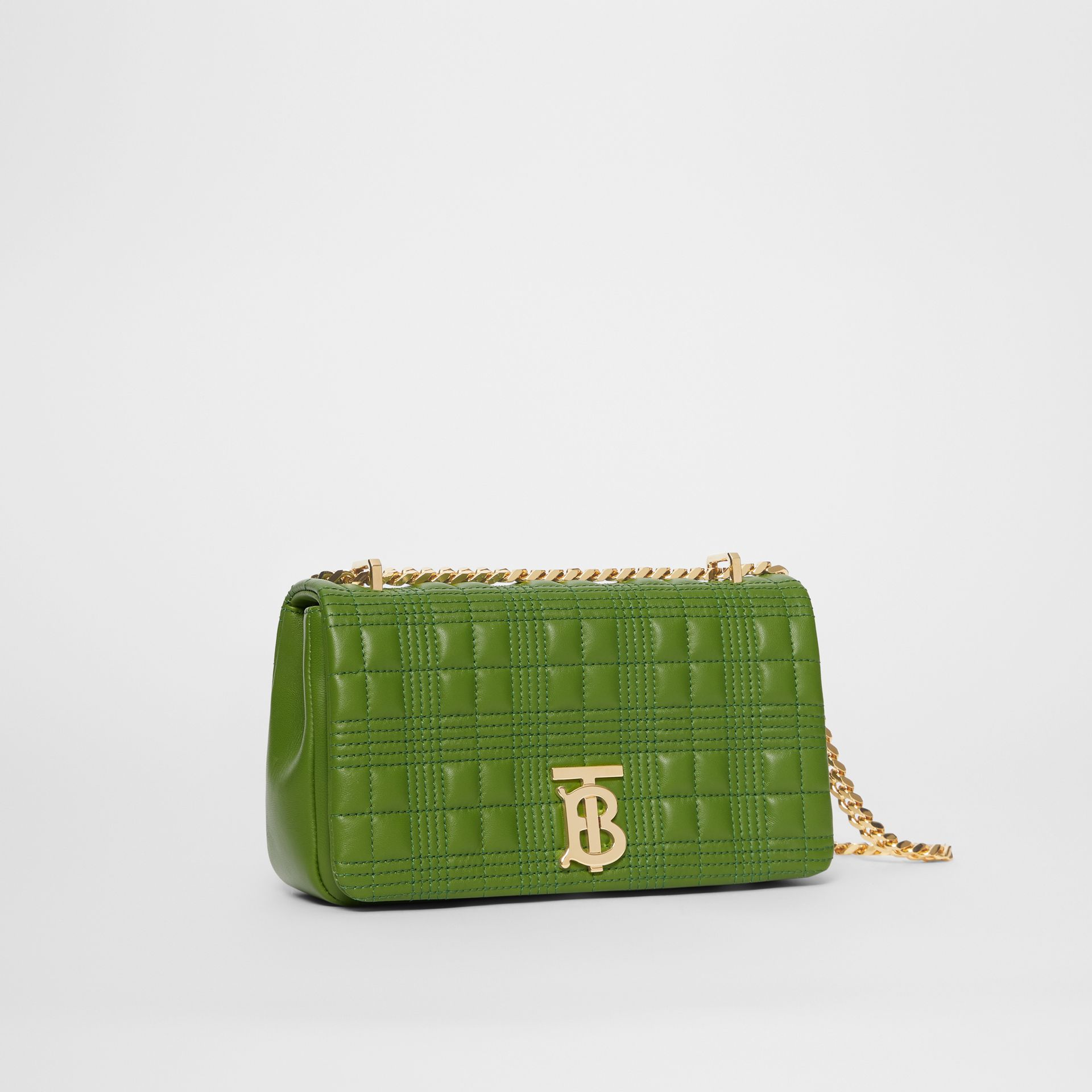 Small Quilted Check Lambskin Lola Bag in Green Forest - Women | Burberry - gallery image 6