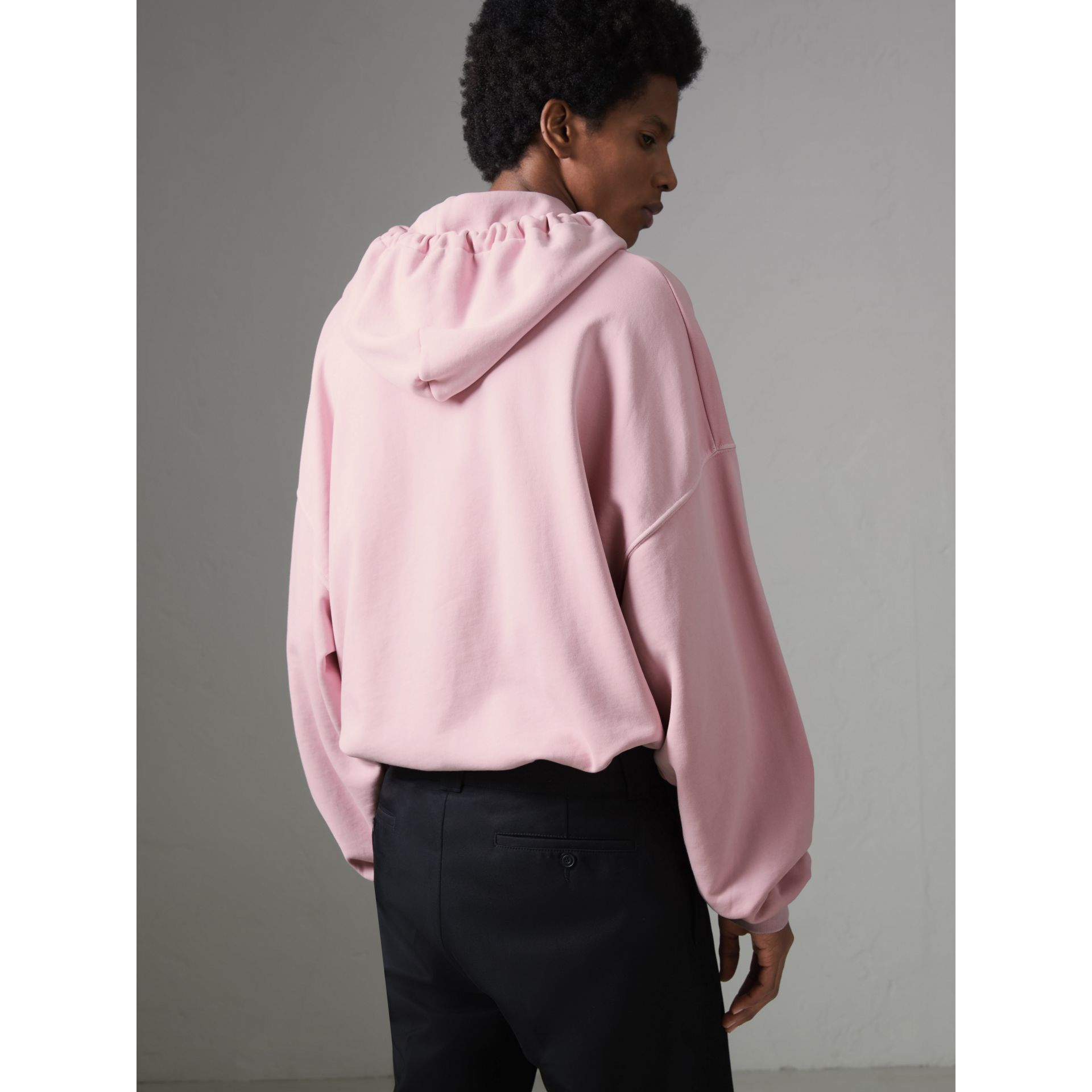 Equestrian Logo Embroidery Cotton Oversized Hoodie in Light Pink - Men | Burberry United Kingdom - gallery image 2
