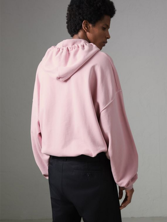 Equestrian Logo Embroidery Cotton Oversized Hoodie in Light Pink - Men | Burberry Singapore - cell image 2