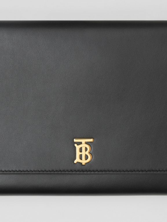 Monogram Motif Leather Bag with Detachable Strap in Black - Women | Burberry Australia - cell image 1