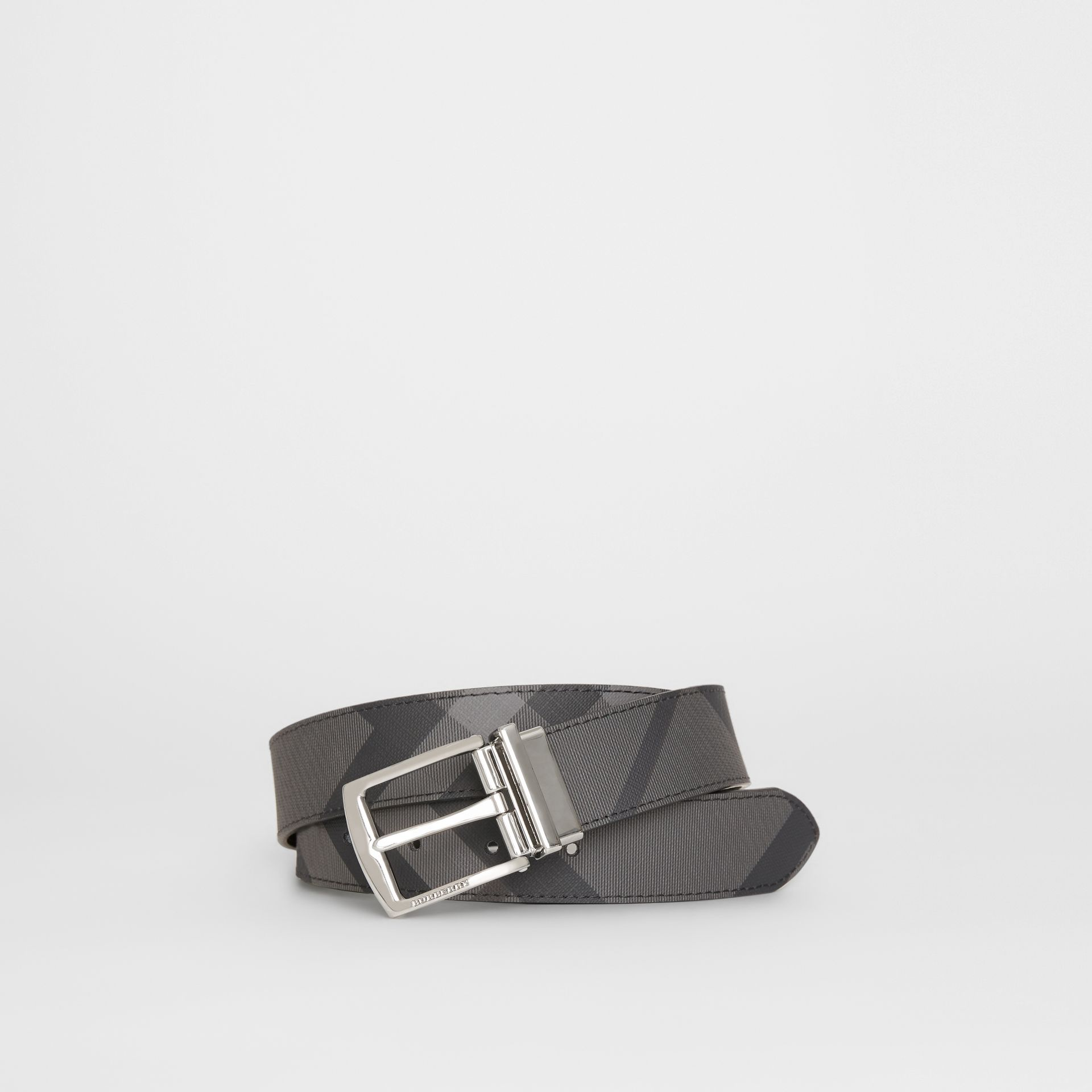 Reversible London Check and Leather Belt in Charcoal/black - Men | Burberry Canada - gallery image 0
