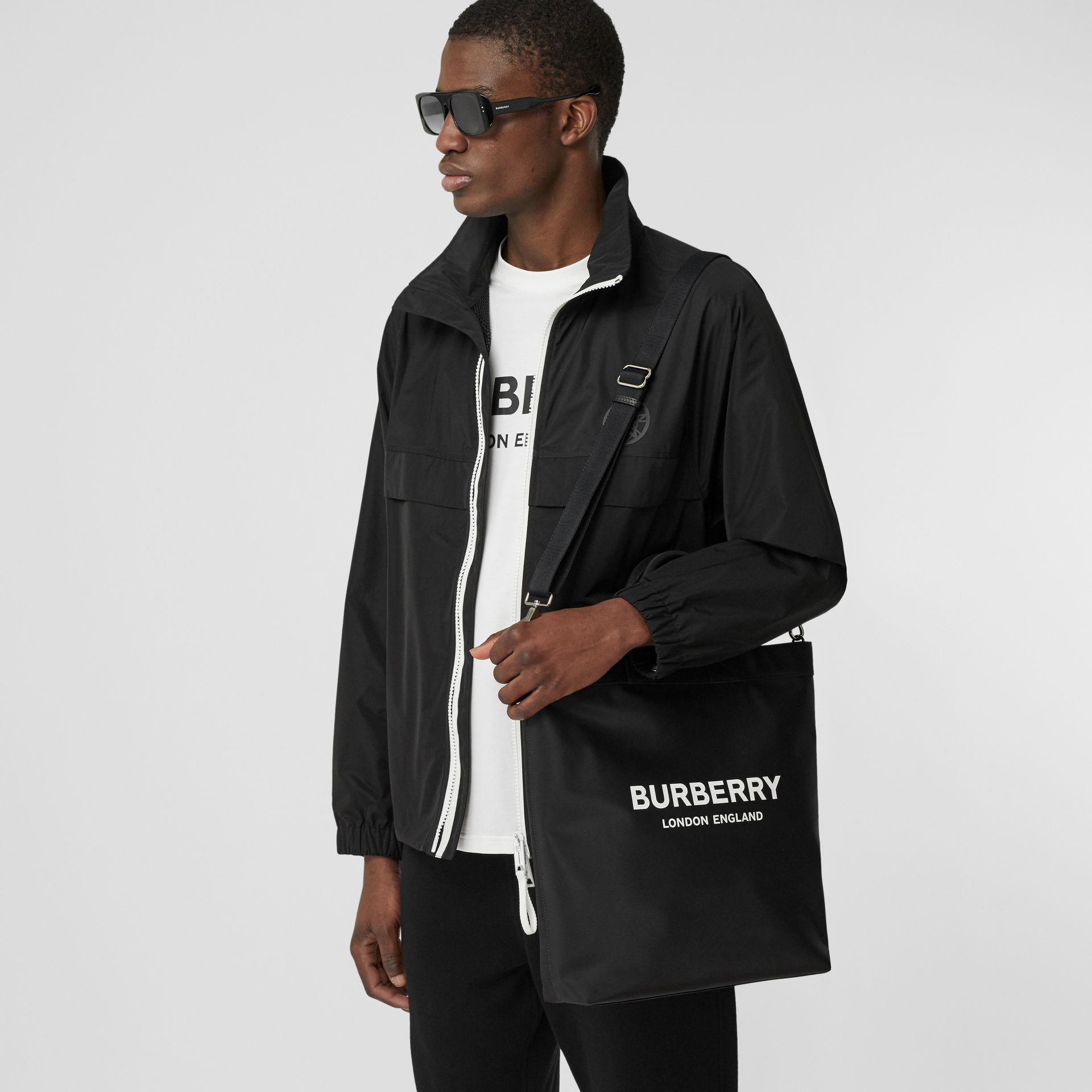 Logo Print ECONYL® Tote in Black - Men | Burberry - gallery image 11