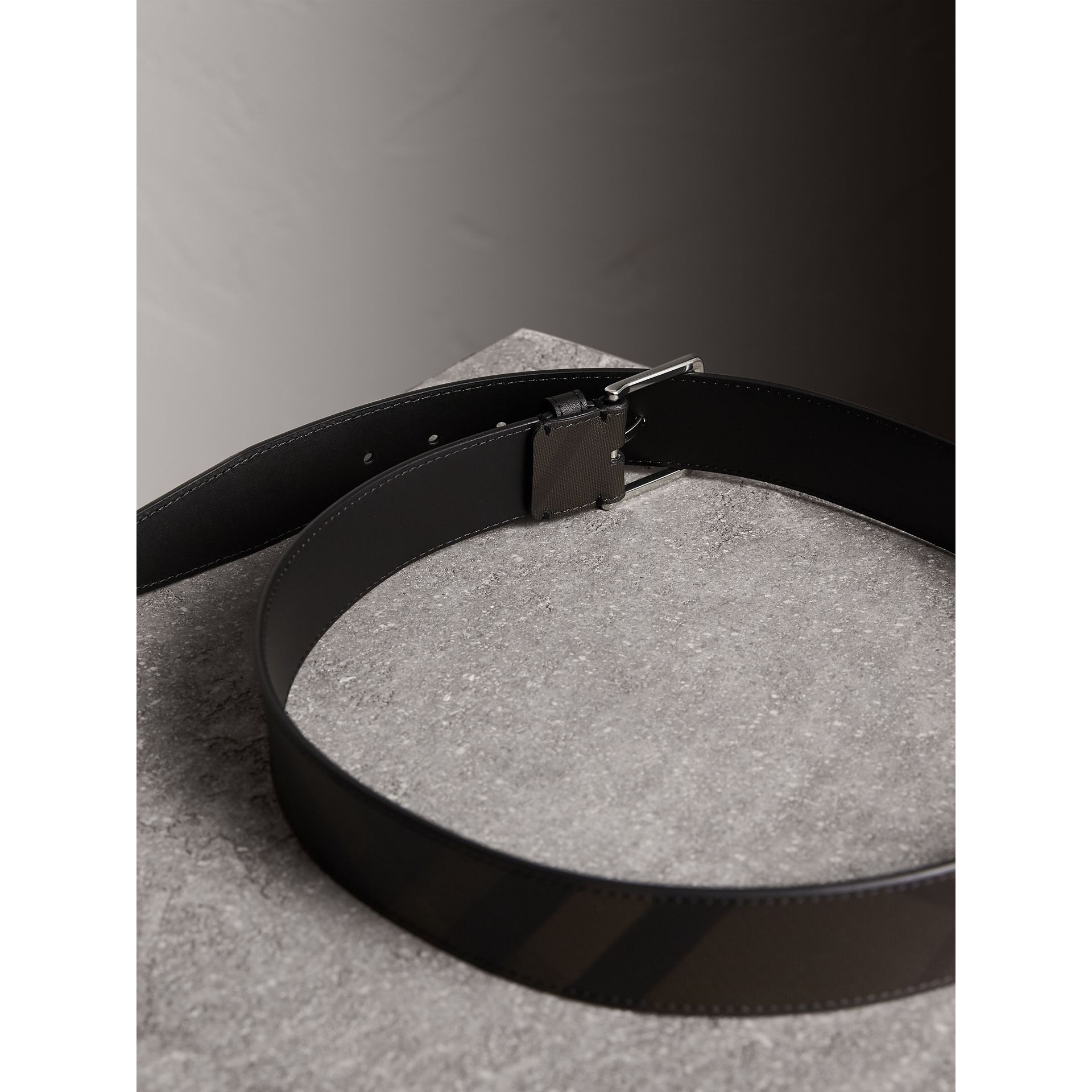 Leather Trim London Check Belt in Chocolate/black - Men | Burberry Canada - gallery image 3