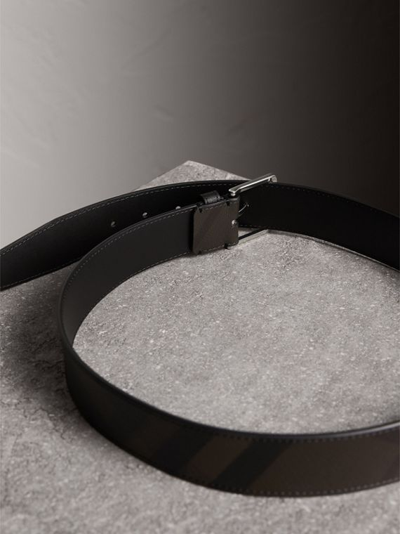 Leather Trim London Check Belt in Chocolate/black - Men | Burberry - cell image 3