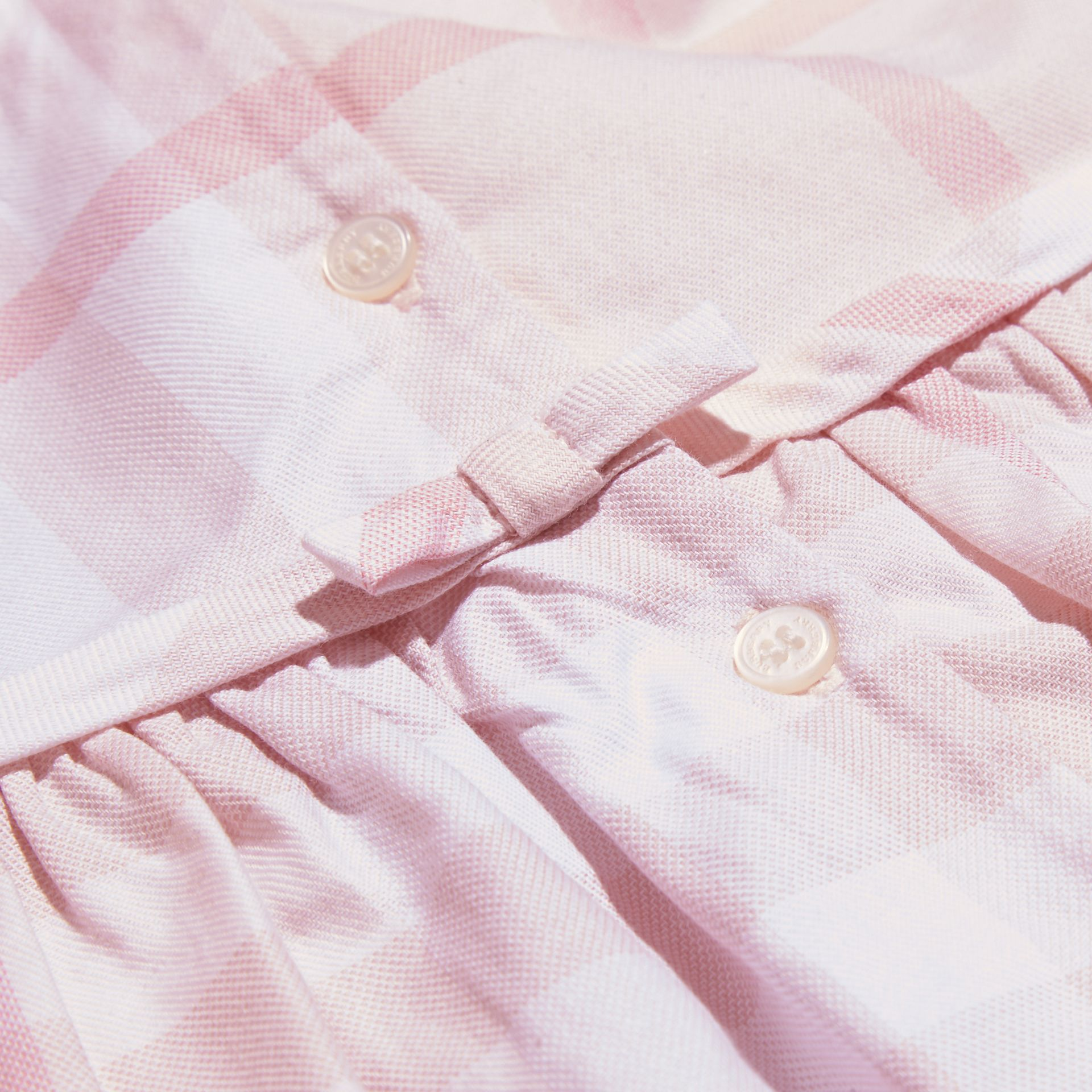 Ice pink Long-sleeved Pintuck Detail Washed Check Cotton Dress Ice Pink - gallery image 2