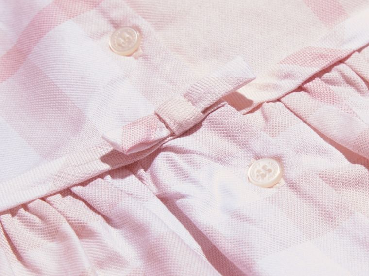 Ice pink Long-sleeved Pintuck Detail Washed Check Cotton Dress Ice Pink - cell image 1