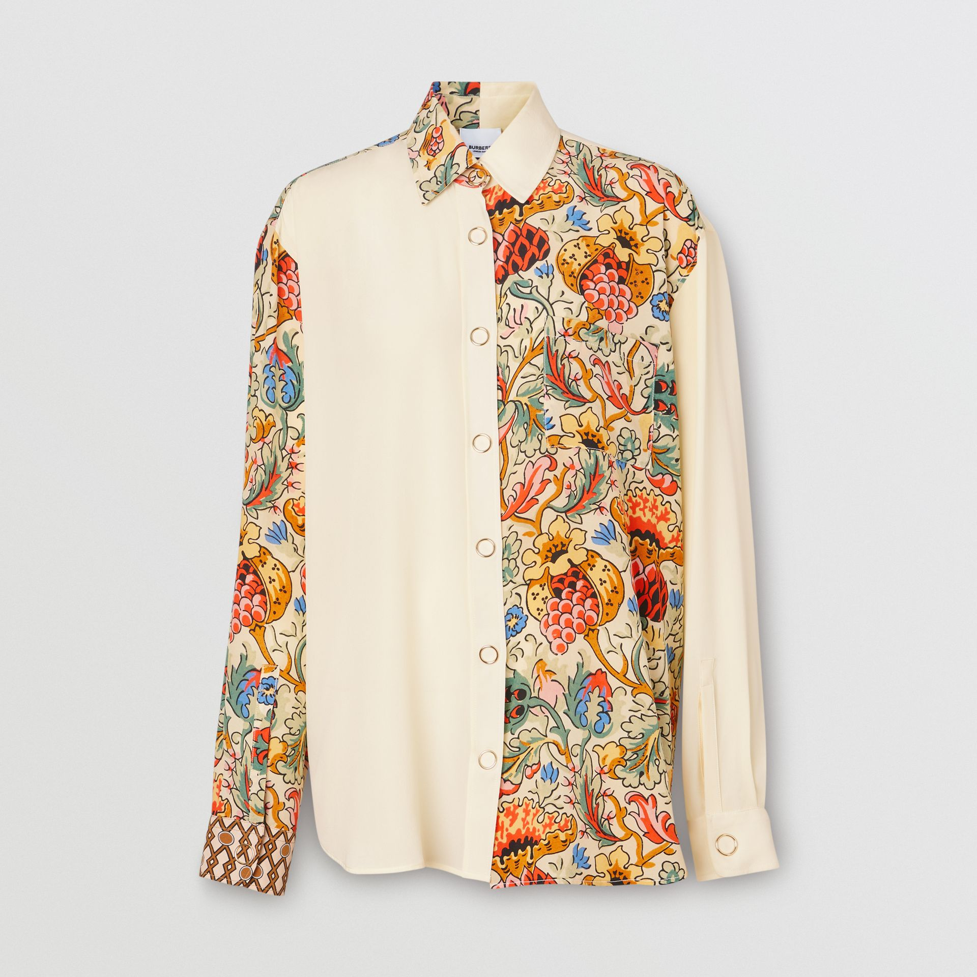 Floral Print Panel Silk Oversized Shirt in Vanilla - Women | Burberry - gallery image 3