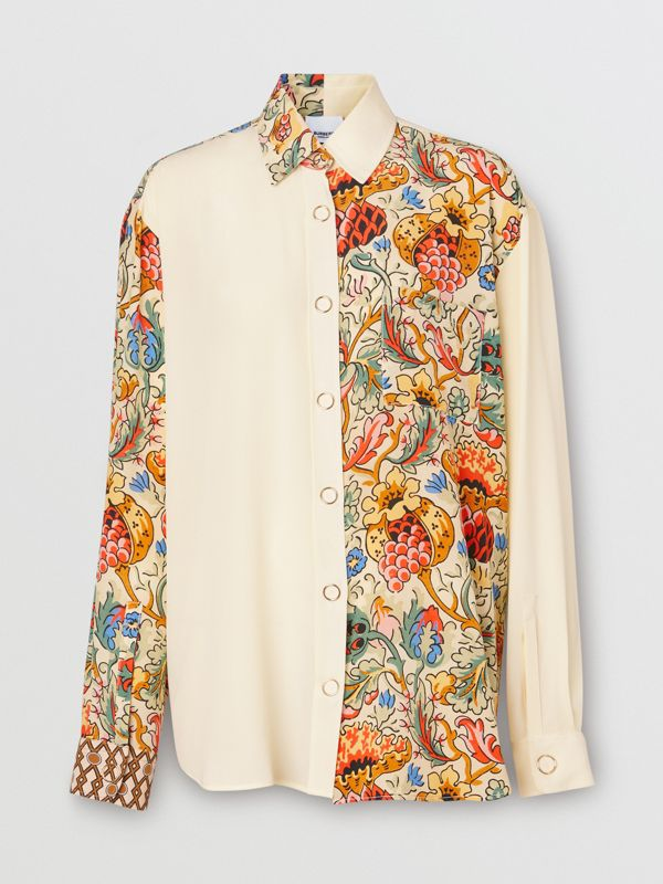 Floral Print Panel Silk Oversized Shirt in Vanilla - Women | Burberry - cell image 3