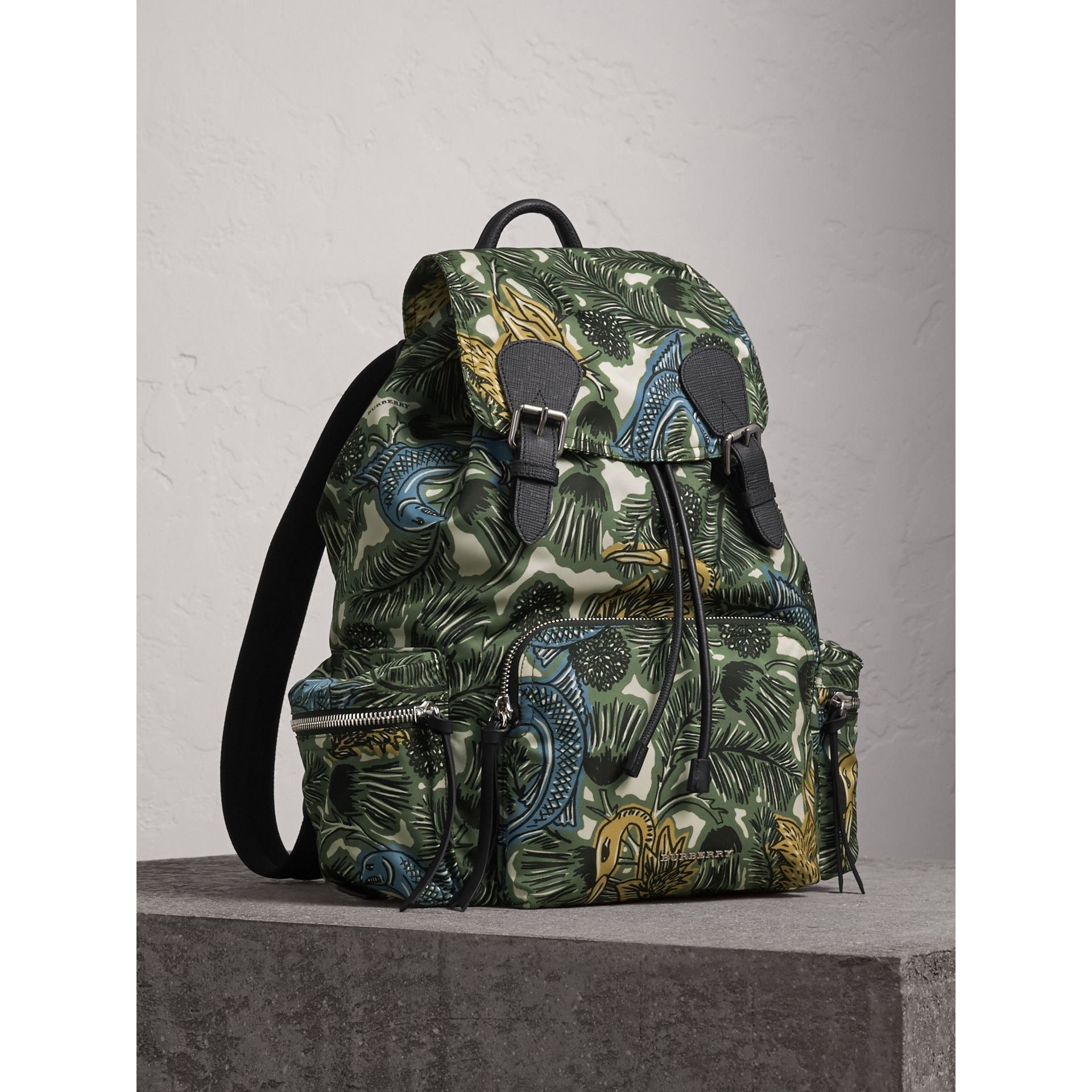 The Large Rucksack in Beasts Print Nylon and Leather in Sage Green - Men | Burberry Singapore - gallery image 1