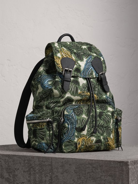 The Large Rucksack in Beasts Print Nylon and Leather in Sage Green