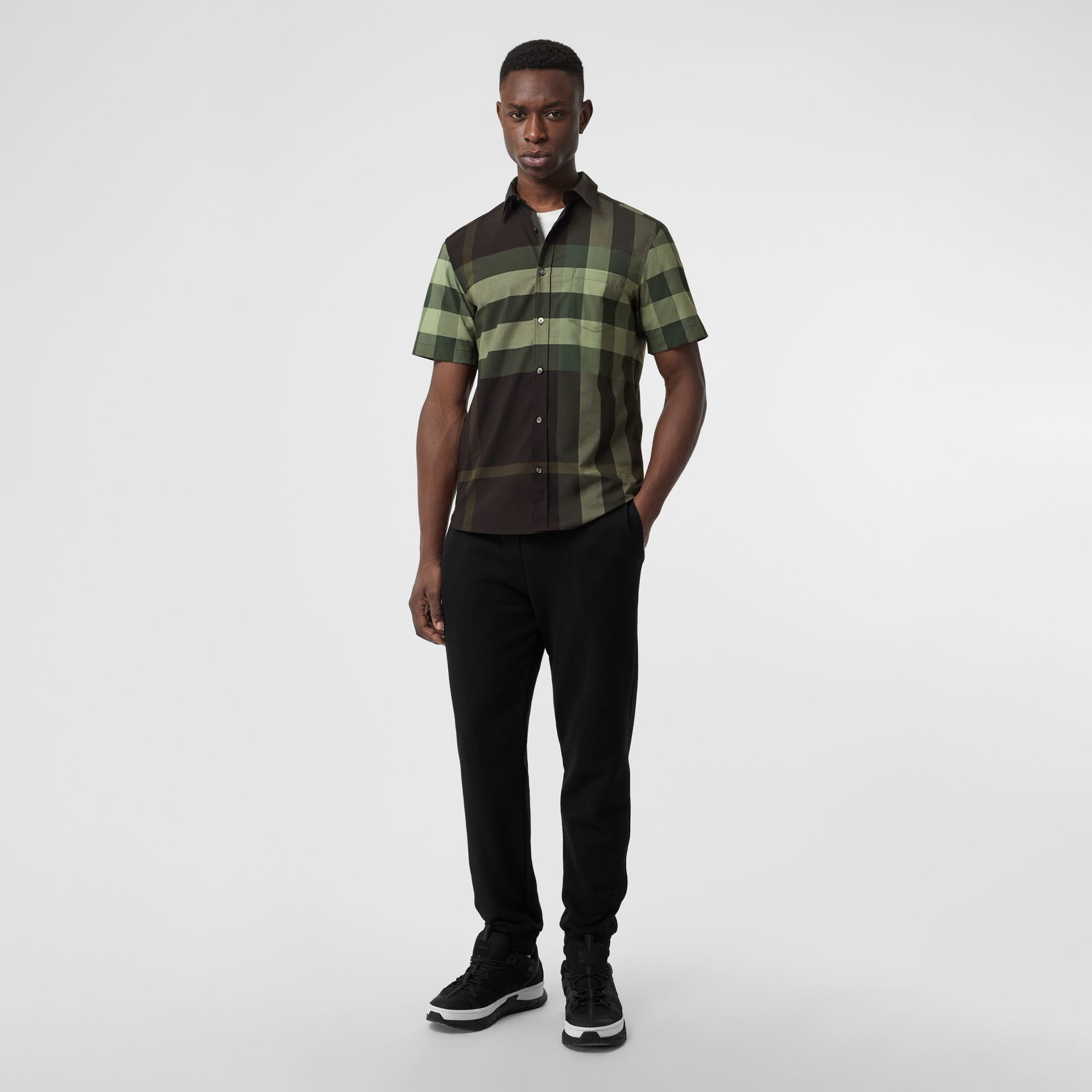 Short-sleeve Check Stretch Cotton Shirt in Dark Forest Green - Men | Burberry - gallery image 0
