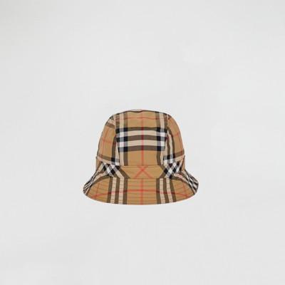 Rainbow Stripe Vintage Check Bucket Hat in Antique Yellow/Rainbow