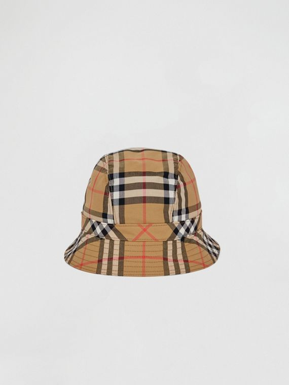 Vintage Check Bucket Hat in Antique Yellow/rainbow
