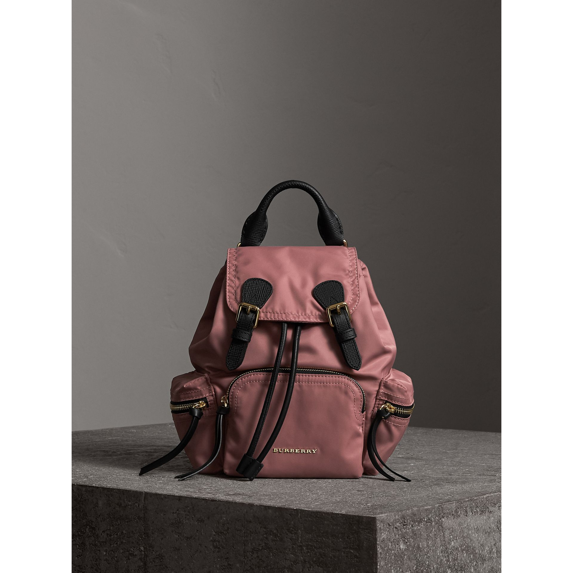 The Small Rucksack in Technical Nylon and Leather in Mauve Pink - Women | Burberry - gallery image 7